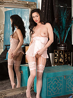 Naughty mommy in stockings spreads open her sweet creamy pussy
